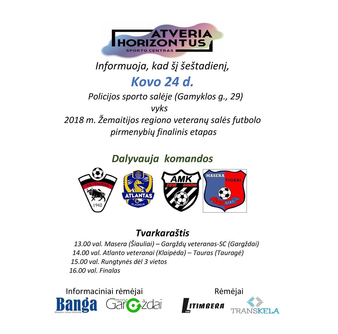 Vyks Žemaitijos regiono veteranų salės futbolo pirmenybių finalinis etapas