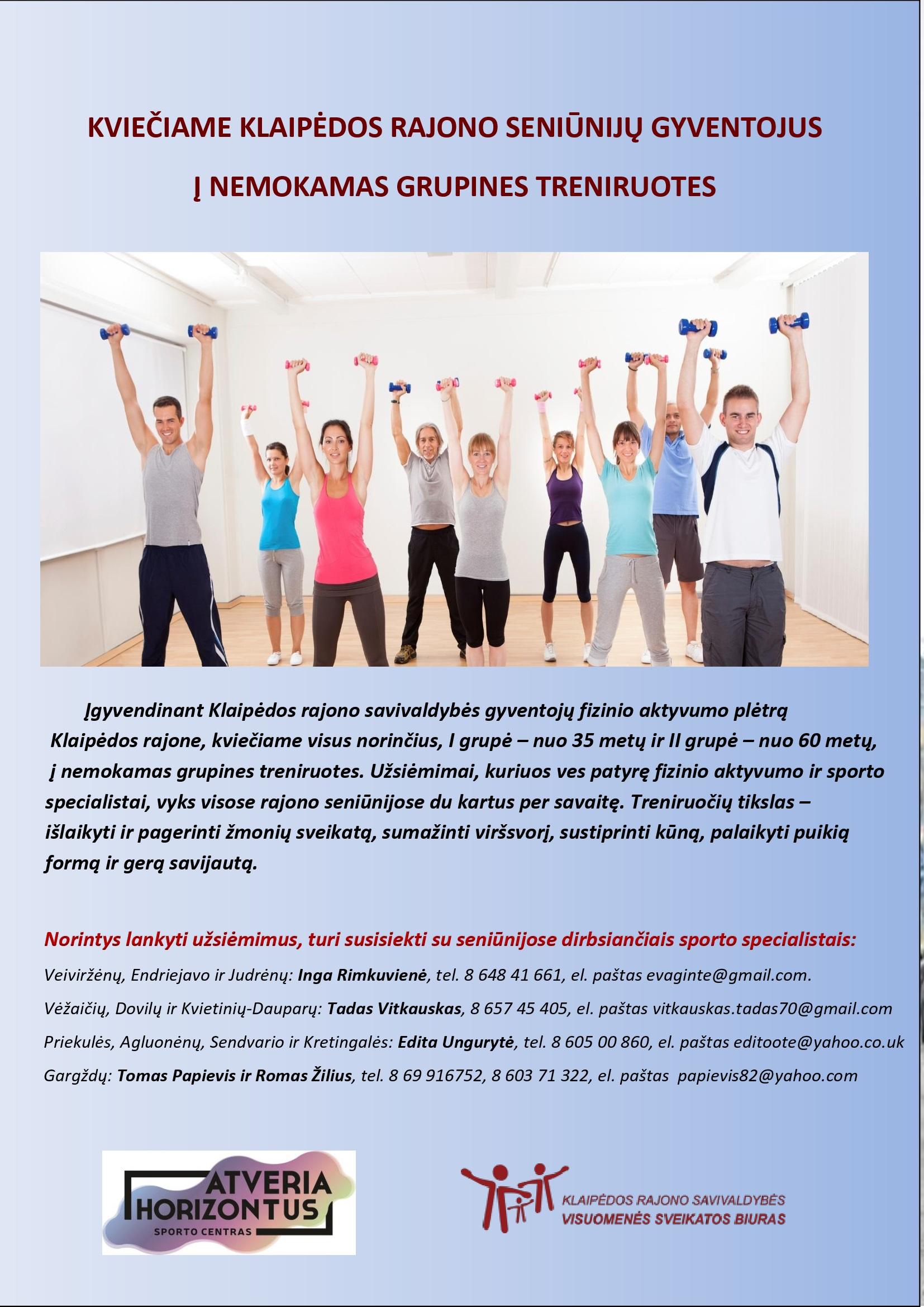 Kviečiame registruotis į nemokamas grupines treniruotes
