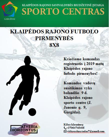 Kviečiame registruotis į Klaipėdos rajono futbolo pirmenybes