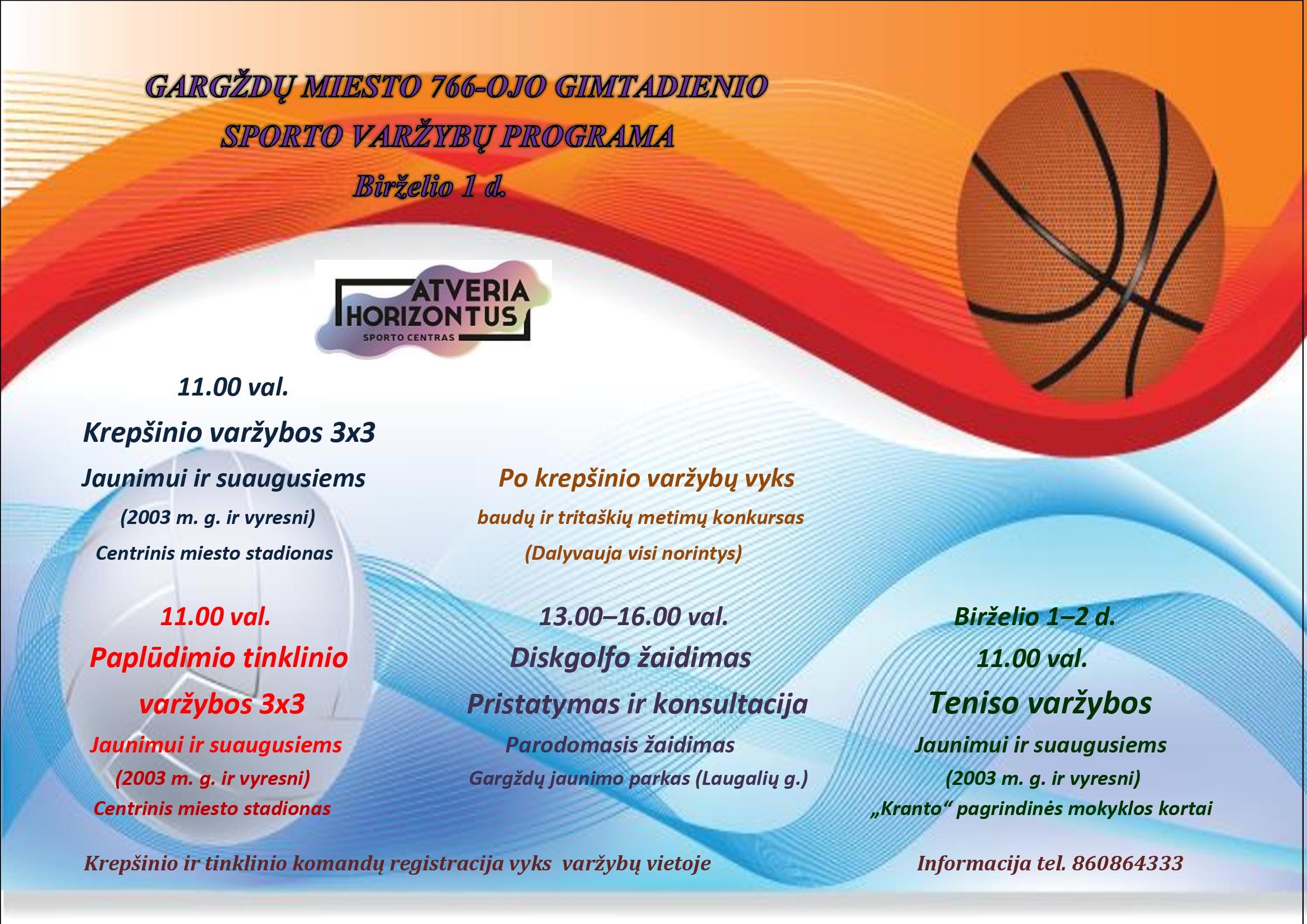 766-ojo miesto gimtadienio sporto varžybų programa