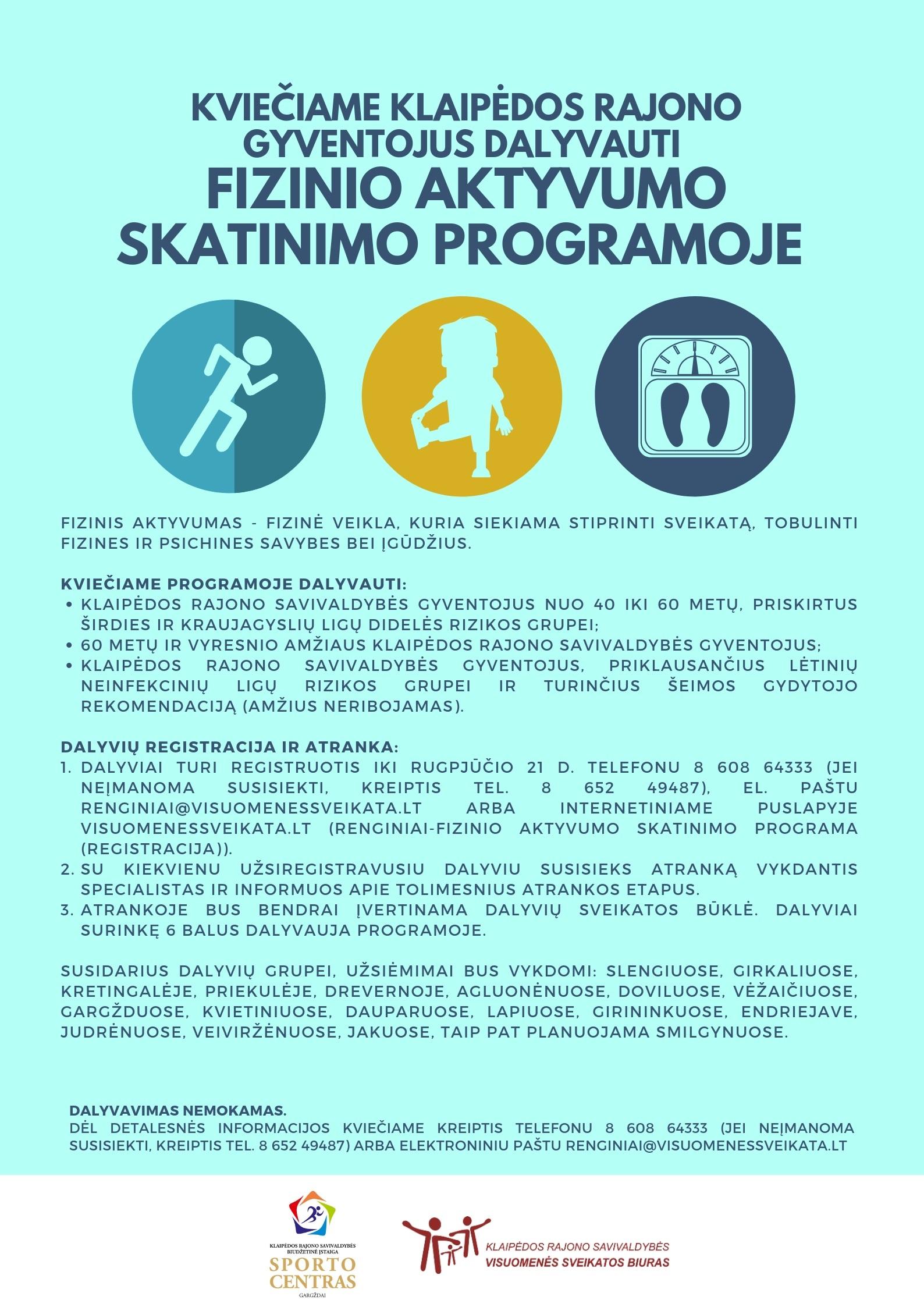 Kviečiame Klaipėdos rajono gyventojus dalyvauti fizinio aktyvumo skatinimo programoje