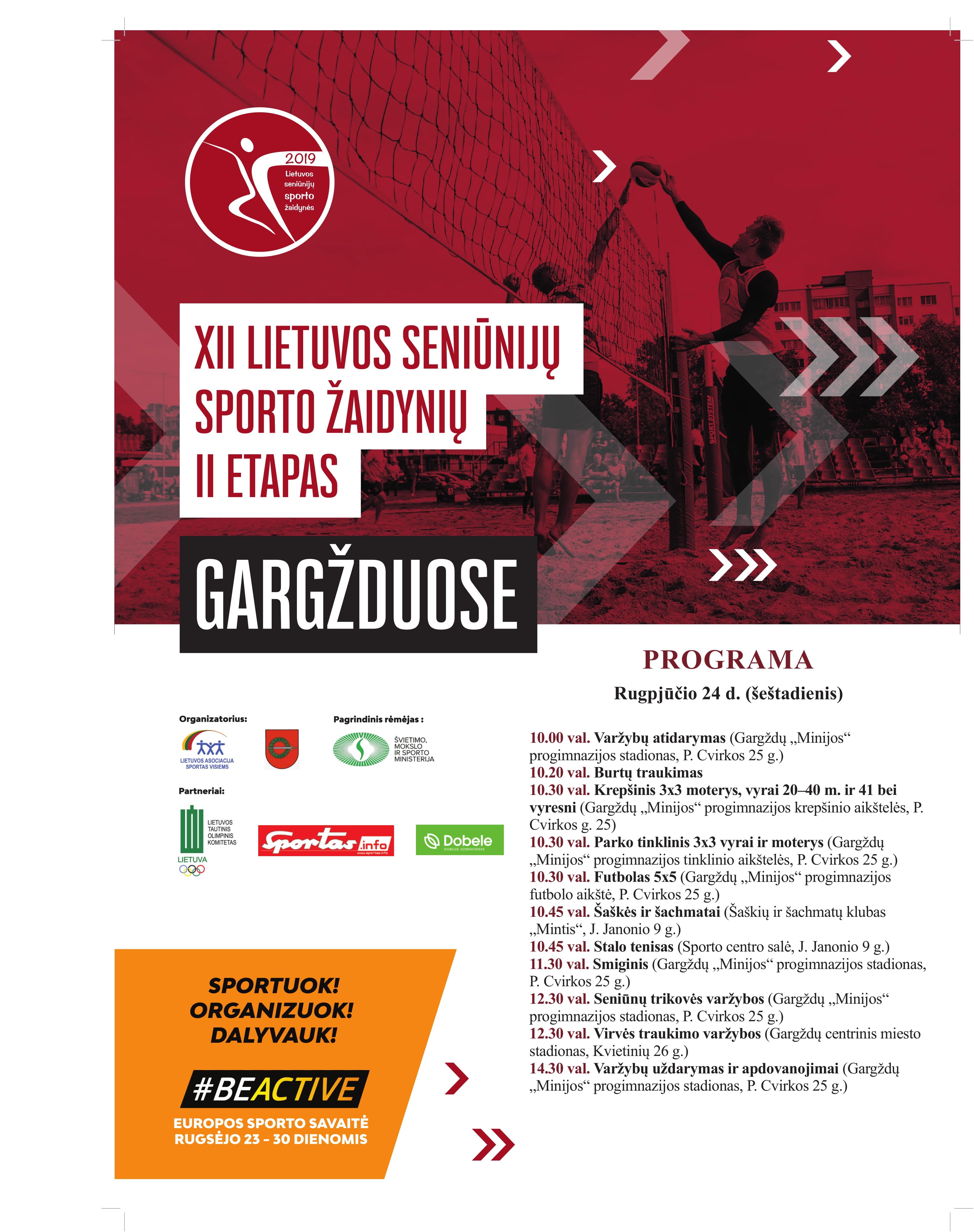 Šeštadienį Gargžduose – Lietuvos seniūnijų vasaros sporto žaidynių II etapas