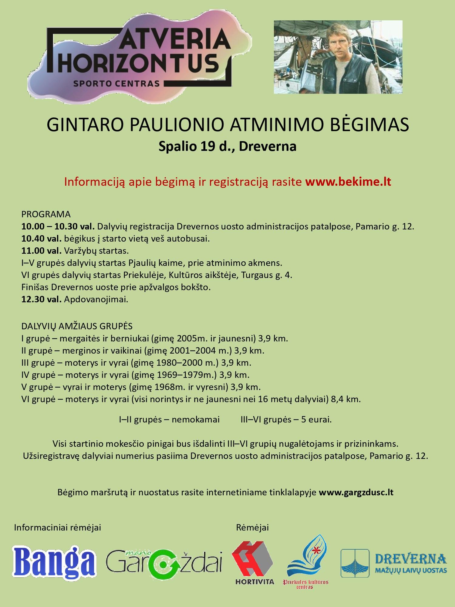 Prasideda registracija į Gintaro Paulionio atminimo bėgimą Drevernoje