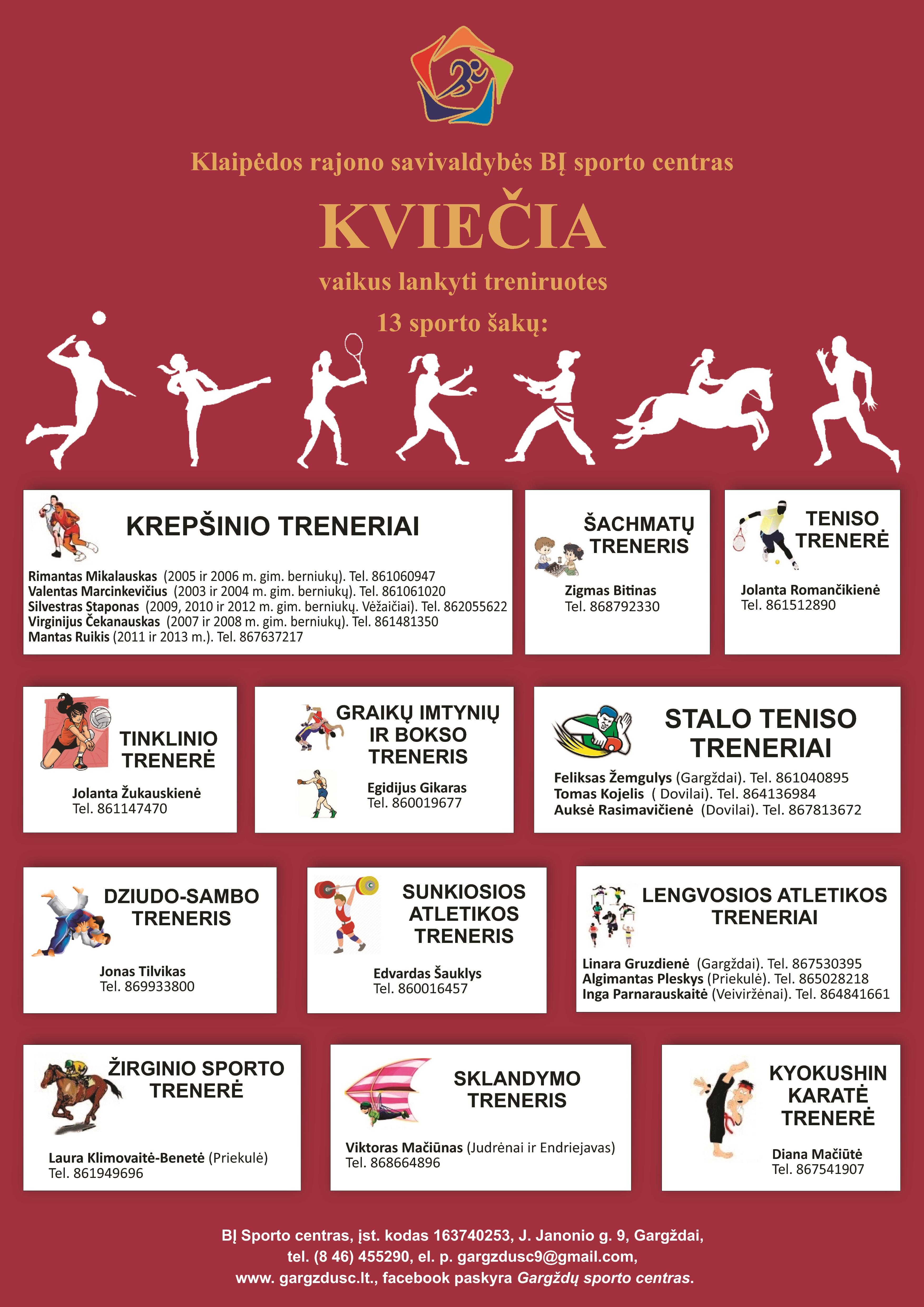 Kviečiame vaikus lankyti sporto treniruotes